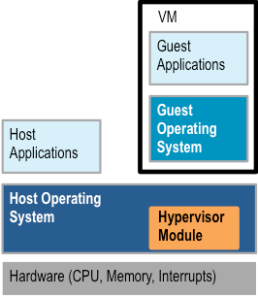 Hybrid hypervisor adds kernel module to host and runs guest VM like normal app